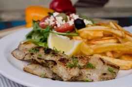 Grilled Hake and Chips